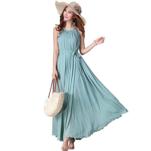 2018 Summer Holiday Beach Wedding Party Guest Sundress Long Maxi Dresses O Neck Chiffon Bridesmaid