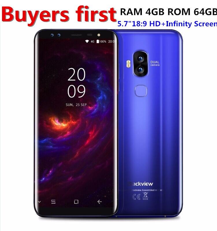 Blackview S8 13.0MP Four Cameras 18:9 5.7 Inch Smartphone 4G RAM 64G ROM MT6750T Octa Core 4G LTE Fingerprint OTG Mobile Phone
