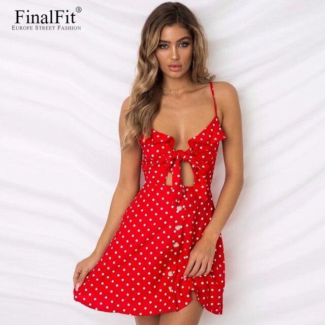 5c4a9f8c5c8 Polka Dot Strap Dress Summer Linen Blend Cutout Button Tie Front Mini Cami  Dress Women