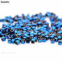 Isywaka 1980pcs Cube 2mm Shining Blue Color Square Austria Crystal Bead Glass Beads Loose Spacer Bead