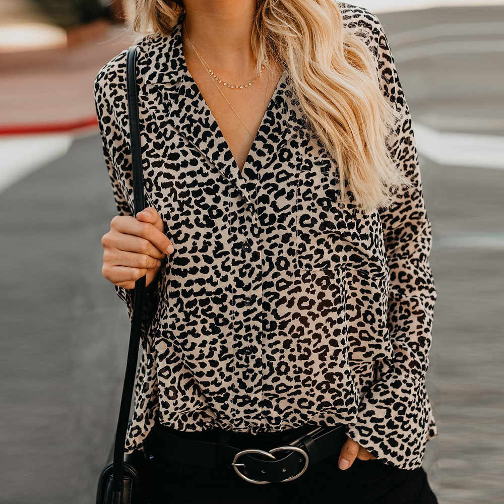 4e6d58ee6531e1 womens tops and blouses Leopard Print V-Neck Casual Top Shirt Ladies Long  Sleeve blouses