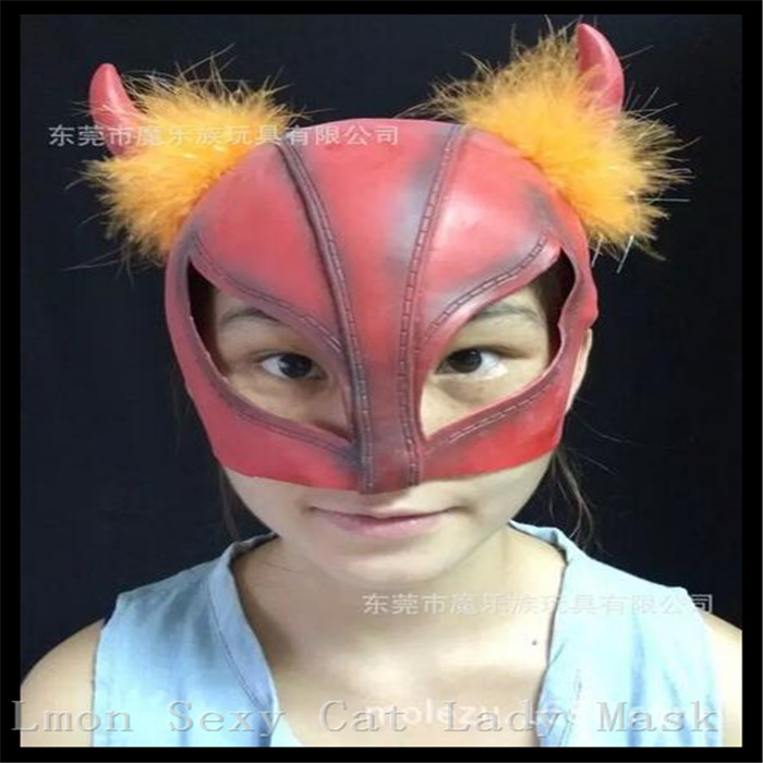 2016 New Rushed Time-limited Red Cat Women Mask Latex Catsuit Costume unisex Latex 3D cat Hoods Face Head Mask with Hair