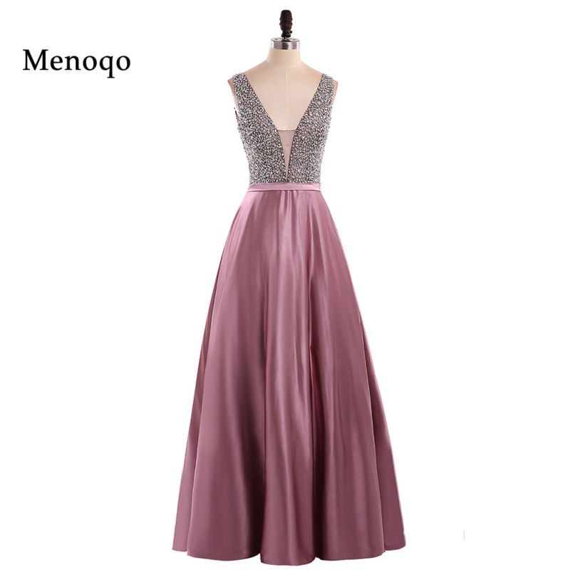 Menoqo V Neck Beads Bodice Open Back A Line Long Evening Dress Party Elegant Vestido De Festa Fast Shipping Prom Gowns