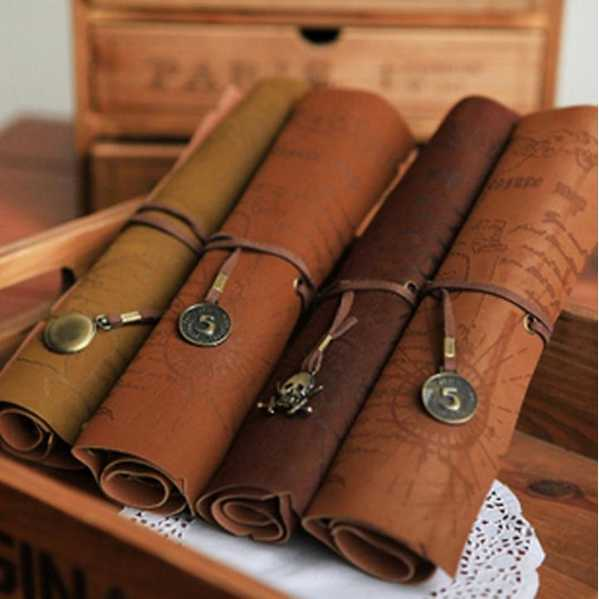 2015 Retro Vintage Pirate Roll Up PU Leather Pen Pencil Case Bags Treasure Map Kid Party Gift Favor Make up Cosmetic Bag H0003