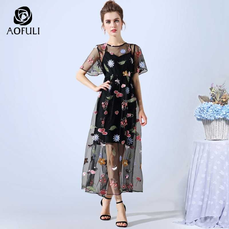 AOFULI L- XXXL 4XL 5XL Women Sexy Embroidered Party Dress Plus Size Short  Sleeves Flowers 9ca9e66a86ef