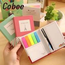 Cobee 4 шт/лот 100 страниц милый мини ноутбук 3 в 1 липкая ручка