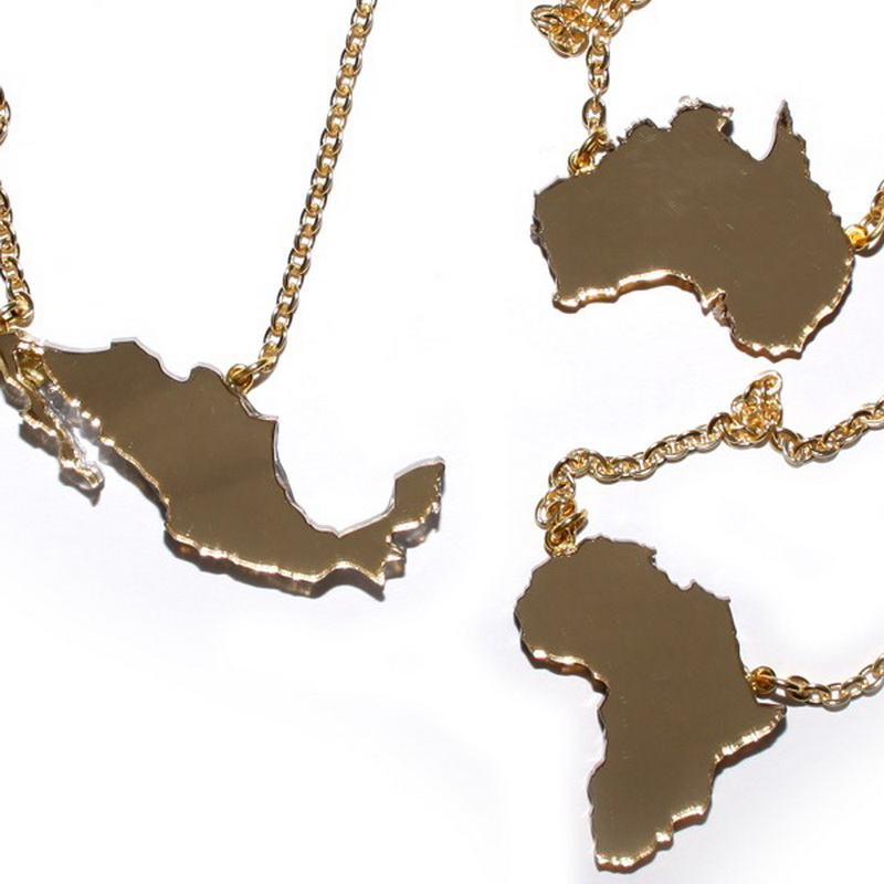 Custom State Country Motherland Map Necklace Acrylic Laser Cuting Personalized Gifts