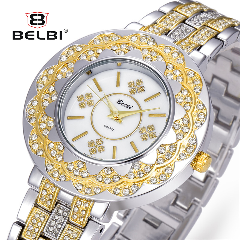 BELBI Fashion Crystal Stainless Steel Bracelet Watch Women Wristwatch Casual Quartz Wrist Watches 2017 kerui gas detector home kitchen security combustible lpg lng coal natural gas leak alarm clock sensor with voice warning