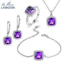 LAMOON 100% Natural Purple Amethyst 925 Sterling Silver Jewelry   Jewelry Set S925 For Women V001-1