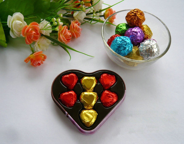 Gold Red Purple Green Silver Coffe Blue Chocolate Wring Tin Foil Covered Candy Aluminum Paper 10 10cm 500pcs Lot