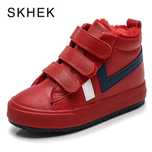Image 2 - SKHEK Winter Girls Boys Snow Boots Waterproof Ankle Kids Boots Flat Warm Plush Lining Childrens Shoes Winter Boots For Girls