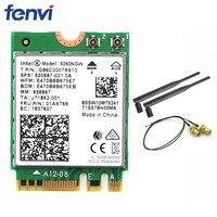 Wireless For Intel AC 9260 9260NGW 802.11ac NGFF WiFi Bluetooth 5.0 Card + 6dbi IPEX MHF4 U.fl To RP SMA External Antenna Set