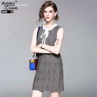 High Quality Spring Autumn Woman Dress Red Gray Plaid Pattern Cotton Wool Dress White Collar Bow