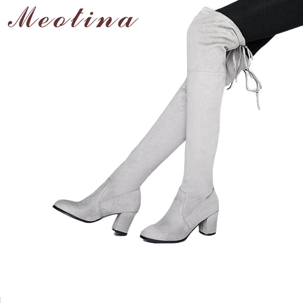 Meotina 2018 Over the Knee Boots Square High Heels Boots Winter Thigh High Boots Lace Up Long Shoes Black Big Gray Size 34-43 meotina women boots high heels thigh high boots winter sexy over knee boots ladies autumn shoes black white shoes big size 10 43