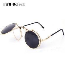 df19e74ade TWO Oclock Vintage Steampunk Goggles Round Sun Glasses For Women Men Retro  Double