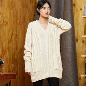 Pullover Sweater Knit Women Vneck Twisted Streetwear Loose One--Over-Size Wool Solid