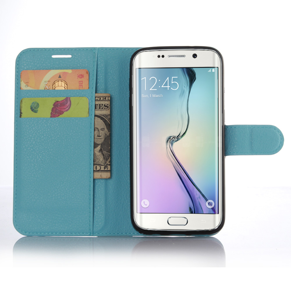 huge discount 4624e ab00f US $3.9 |fashion litchi texture flip leather cover case for Samsung Galaxy  S7 Edge wallet design magnetic protective shell with card slot on ...