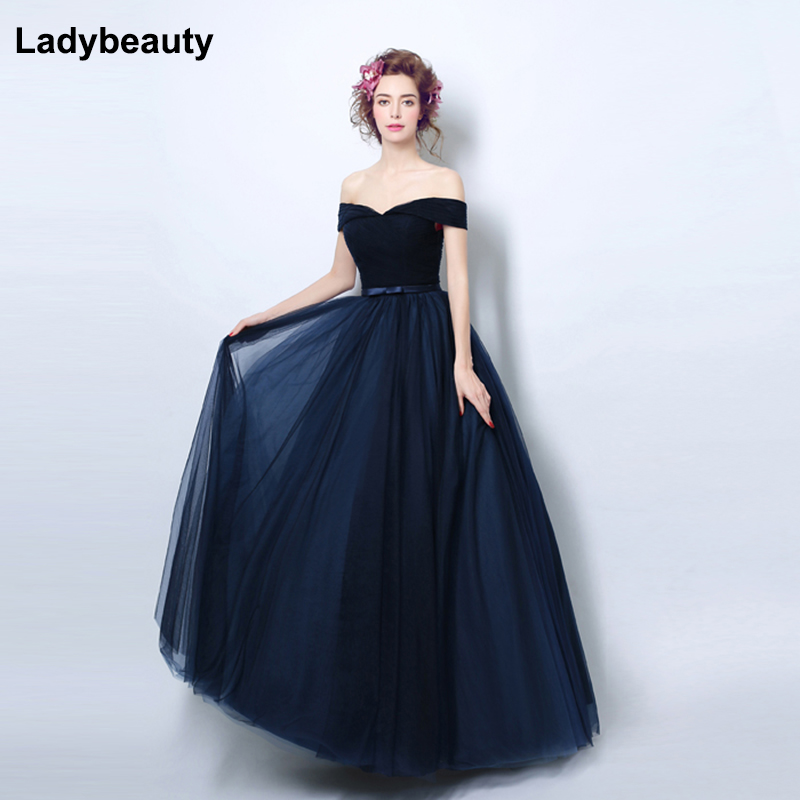 Ladybeauty 2018 Navy blue Slit Short   Evening     Dresses   women luxury Formal Gown Long Prom   Dresses