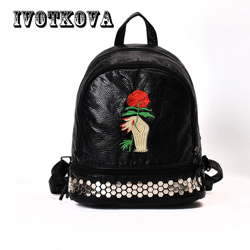 IVOTKOVA Floral Pu Leather Backpack Women Embroidery School Bag For Teenage Girls Brand Ladies Small Backpacks