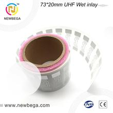 10 قطعة UHF RFID علامة الغريبة 9662 H3 الرطب البطانة ملصق 73 مللي متر * 20 مللي متر UHF هوائي تستخدم ل آلة بيع تسليم سريع شحن مجاني