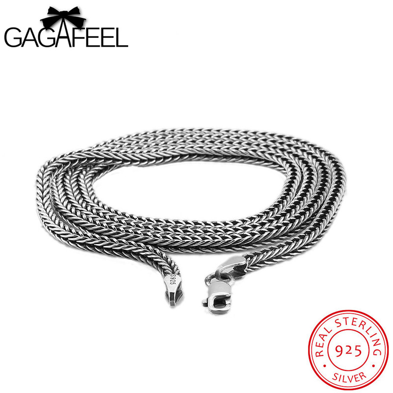 GAGAFEEL 925 Sterling Silver Necklace For Men Trendy Punk Sport Style Necklace Long Chain Link Choker Vintage Necklace Gift punk style silver plated etched star circle pendnat necklace for men