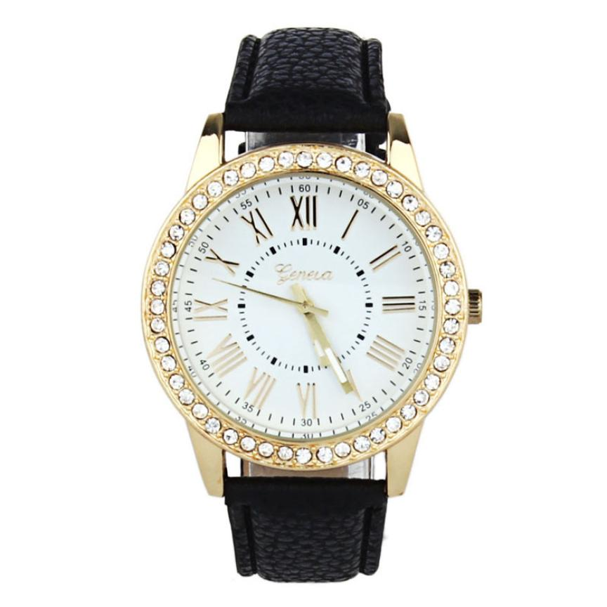 relogio masculino erkek kol saati reloj mujer Women Rhinestone PU Leather Band Quartz Wrist Watch Women Watches May25