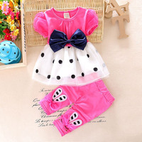 2016 Summer Toddler Baby Girls Clothing Sets Girls Summer Set Fashion Tops Shorts Bow 2pcs Kid Dots Sport Suit Set Tracksuit Set