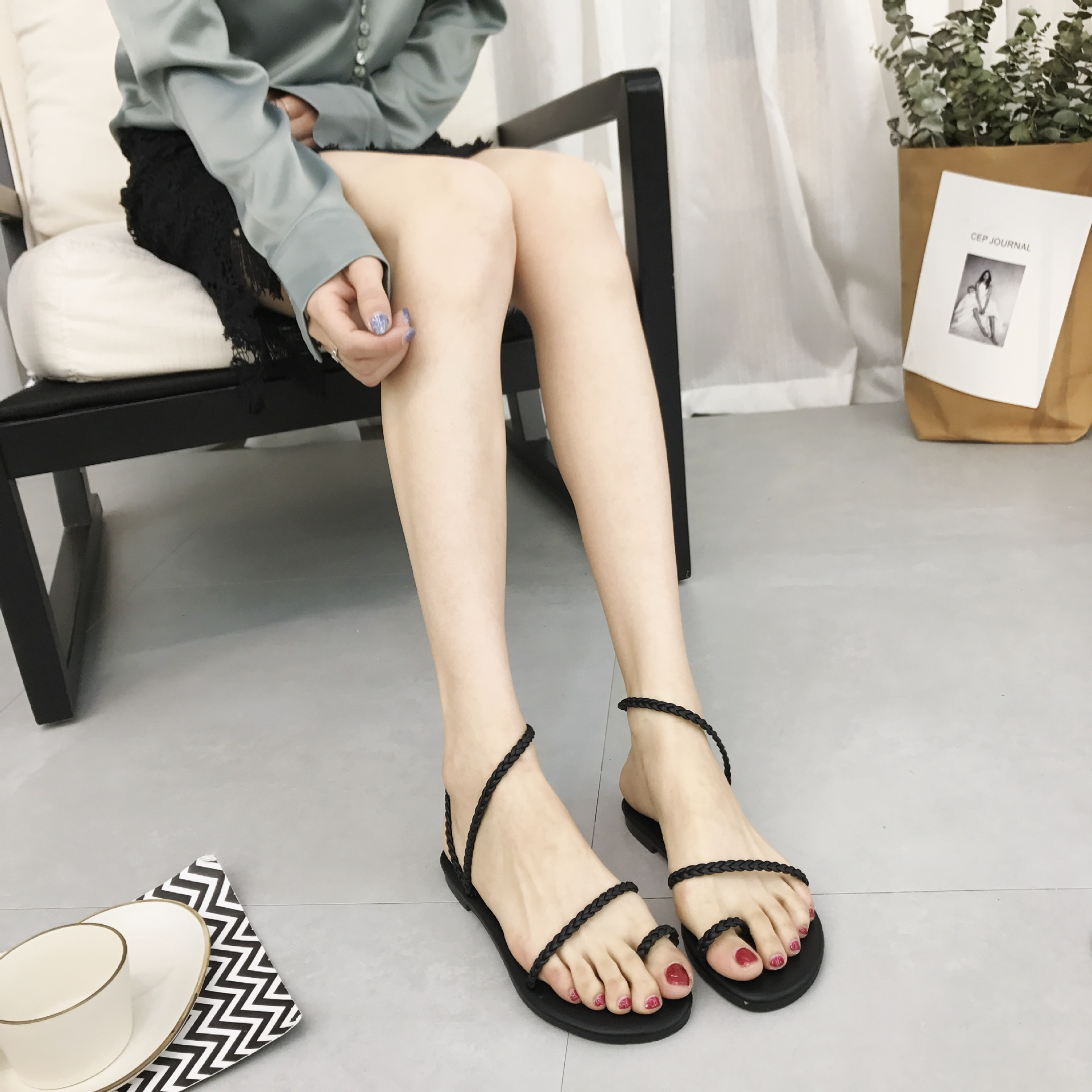 5013 new simple strap woven toe holiday beach shoes flat shoes5013 new simple strap woven toe holiday beach shoes flat shoes
