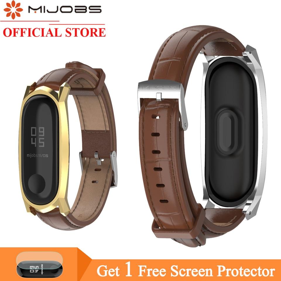 Mijobs Mi Band 4 Bracelet Leather Wrist Strap For Xiaomi Mi Band 4 Screwless Smart Watch Wristbands Replace Band For Mi Band 3