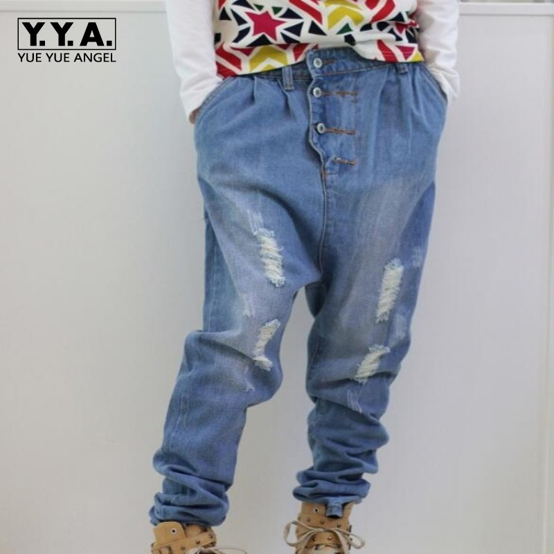 Spring New Fashion Mens Loose Fit Casual Jeans Boys Cotton denim Harem Pants Hole loose baggy trousers Cross Pants pantalones