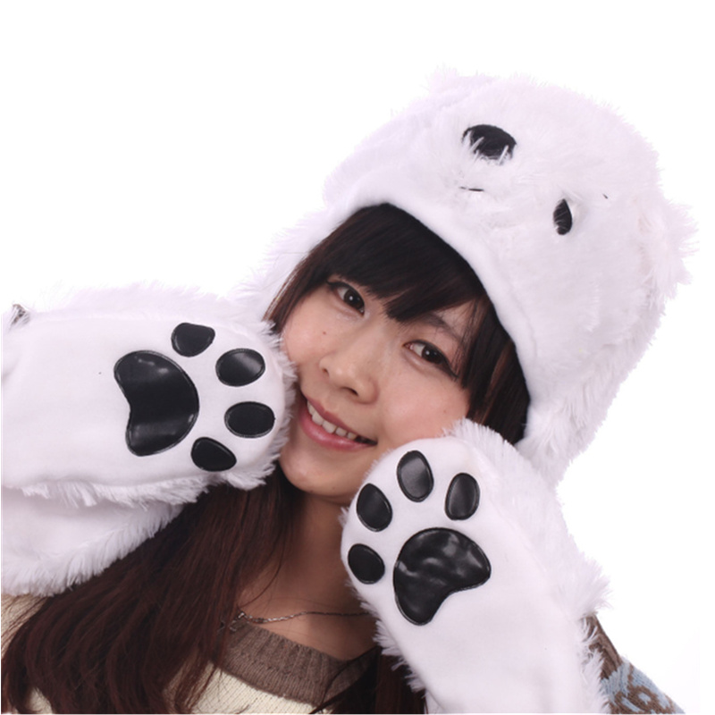 DOUBCHOW Womens Teenages Kids Cartoon Animal Hat Cute White Pink Brown Bear Plush Winter Warm Cap with Paw Gloves Boys Girls cute bear paw plush gloves winter warm thermal children knitted gloves full finger mittens cartoon gloves