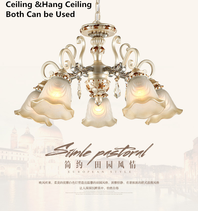 Chandeliers Glass Crystal Lighting Classical Style Lamp For Room Dining Lustre Crital Resin Big Chandelier Lighting