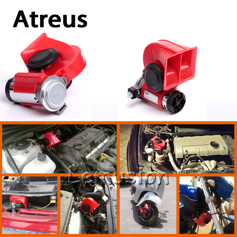 Atreus Car Styling 12V 130db Two-Tone Snail Air Horn For Ford Focus 2 3 Fiesta Toyota Corolla Avensis Mazda 3 6 cx-5 Lada Lexus zd 2x car styling for kia rio 3 ceed toyota corolla 2008 avensis c hr rav4 mazda 3 6 air red horn alarm loudspeaker blast tone
