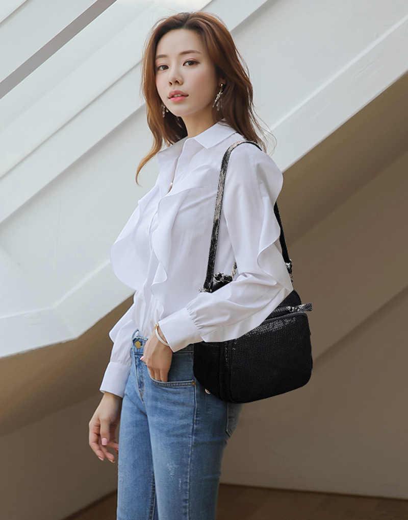 2019 Новый Модный Блестящий женский рюкзак для колледжа Черный Многофункциональный рюкзак женская сумка на плечо pu поясная сумка для путешествий на молнии