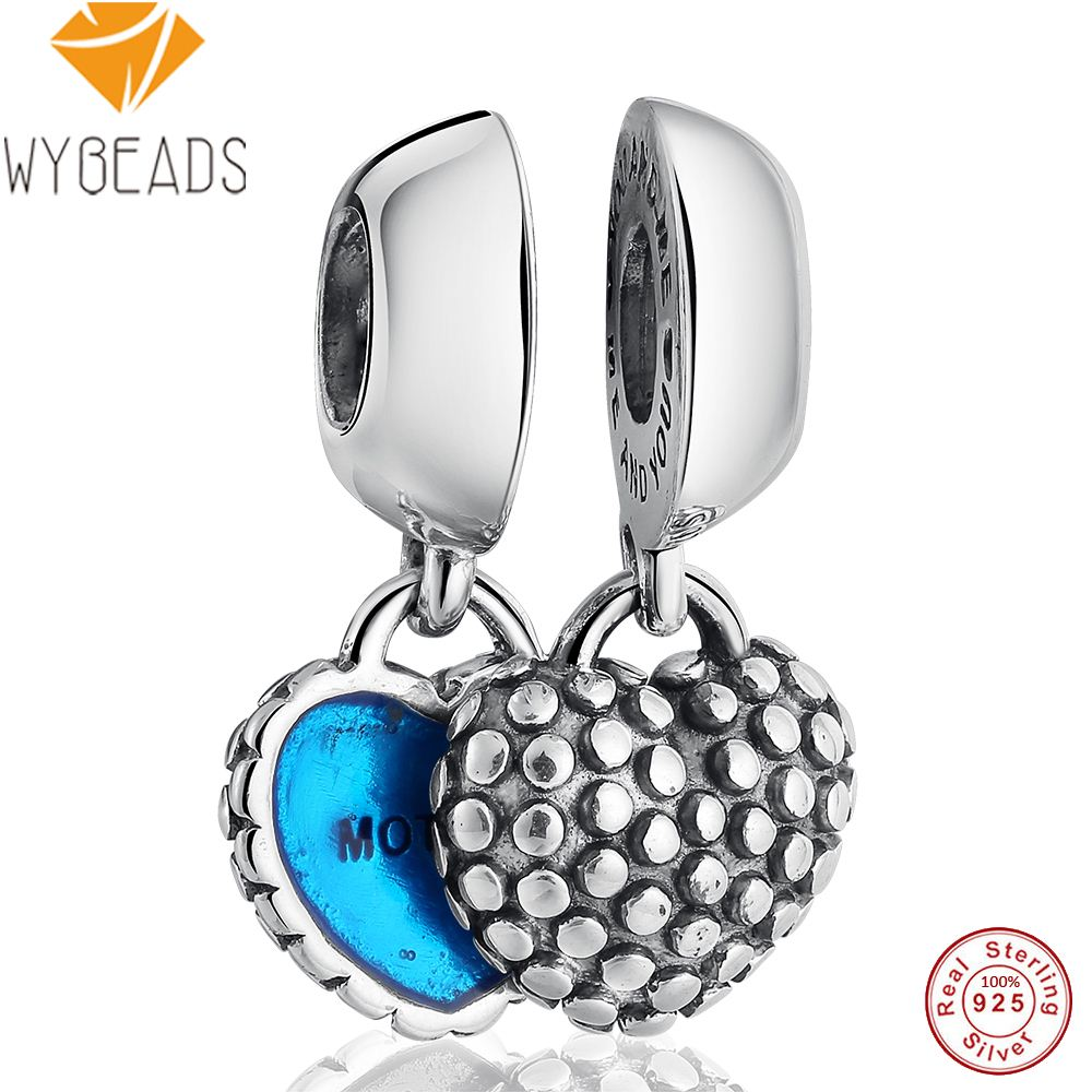 WYBEADS 925 Sterling Silver Charm Hearts Mother Son Charms European Bead For Snake Chain Bracelet Bangle DIY Accessories Jewelry title=