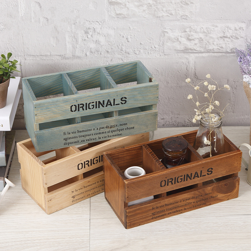 Creative home solid wood box remote controller box/pen hoders holder 3 layer pen container gift office organizer School supplies