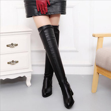 Over The Knee Boots Winter Round Toe Warm Women Lady Short Plush + Stretch Fabric Fashion Big Size 34-43