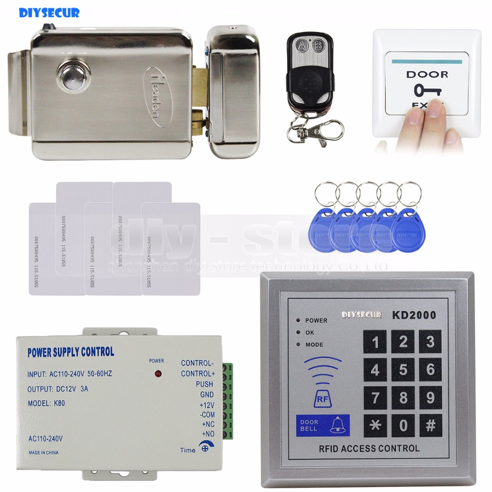 DIYSECUR Full Complete Rfid Card Keypad Door Access Control Kit + Electric Door Lock + Exit Button Brand New KD2000 diysecur rfid id card keypad door access control system kit electric lock exit button b100