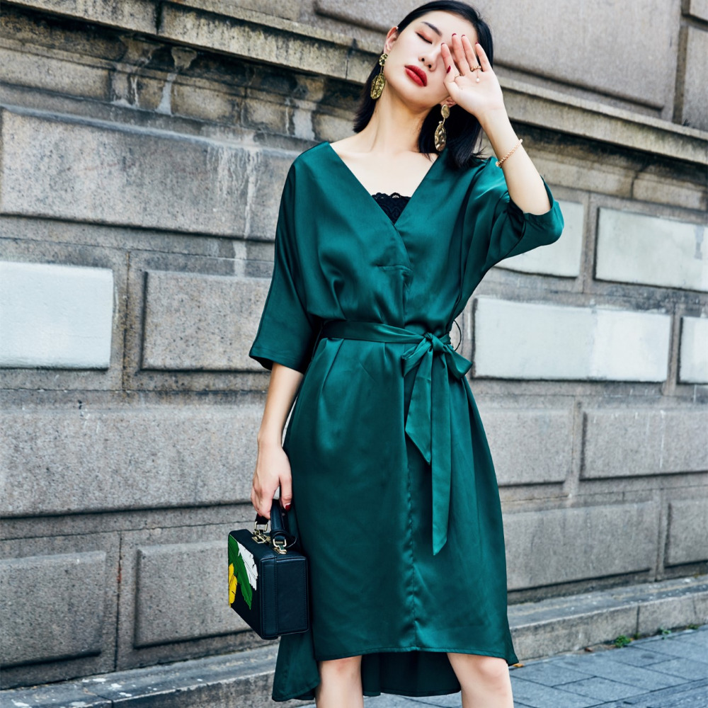 Spring 2018 Womem Dress Vintage Bow Sash V Neck Three Quarter Sleeve Hi-Lo Midi Satin Dress American Apparel Vestidos 1357 ...