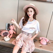 Womans Fashion Embroidered Short Sleeve T-Shirt Tops + Short Pants 2 Pieces Sets 2019 Summer Design Wide Leg Hot Pants Suit(China)