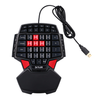 Delux T9 Keyboard 47 Key One Hand Gaming Keyboard Professional One/Single Hand USB Wired Esport Gaming Keyboard for Gamer