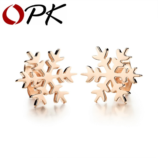OPK Snowflake Woman Stud Earrings Ethnic SmoothPolish Rose Gold
