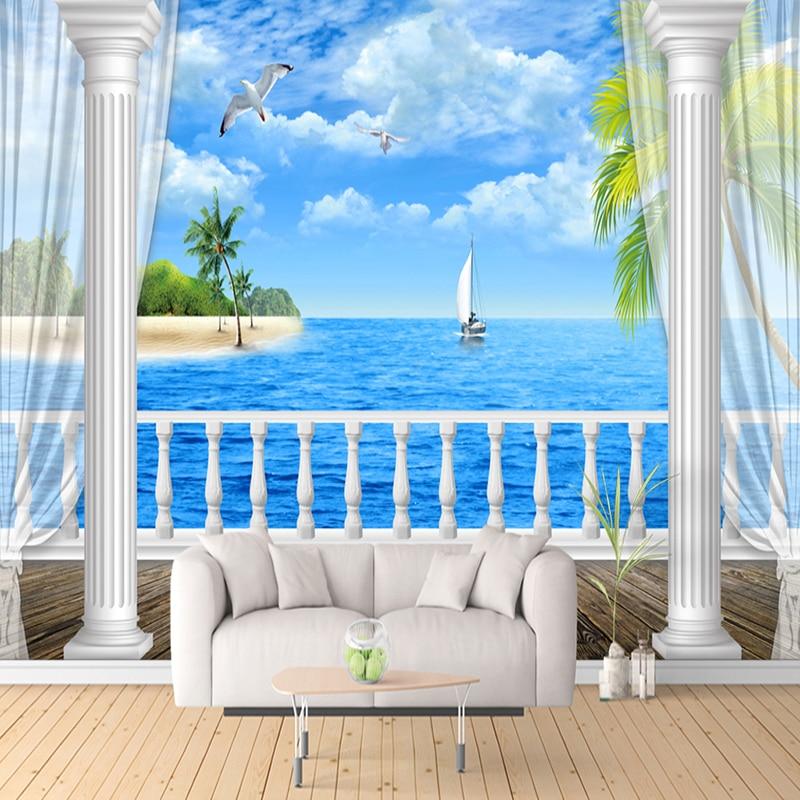 Custom Mural Wallpaper Painting 3D HD Sea View Balcony Roman Column Modern Living Room Sofa TV Background Wall Photo Wallpaper