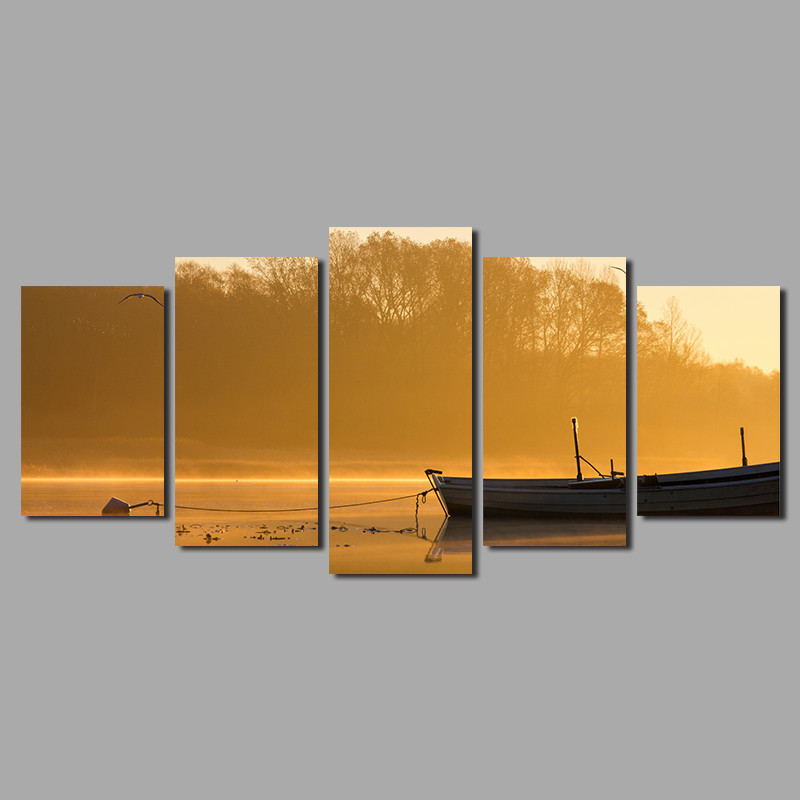High quality yellow tree river boat 5 pcs Landscape Decoration ship by the lake Canvas Painting on wall art pictures home decor ...
