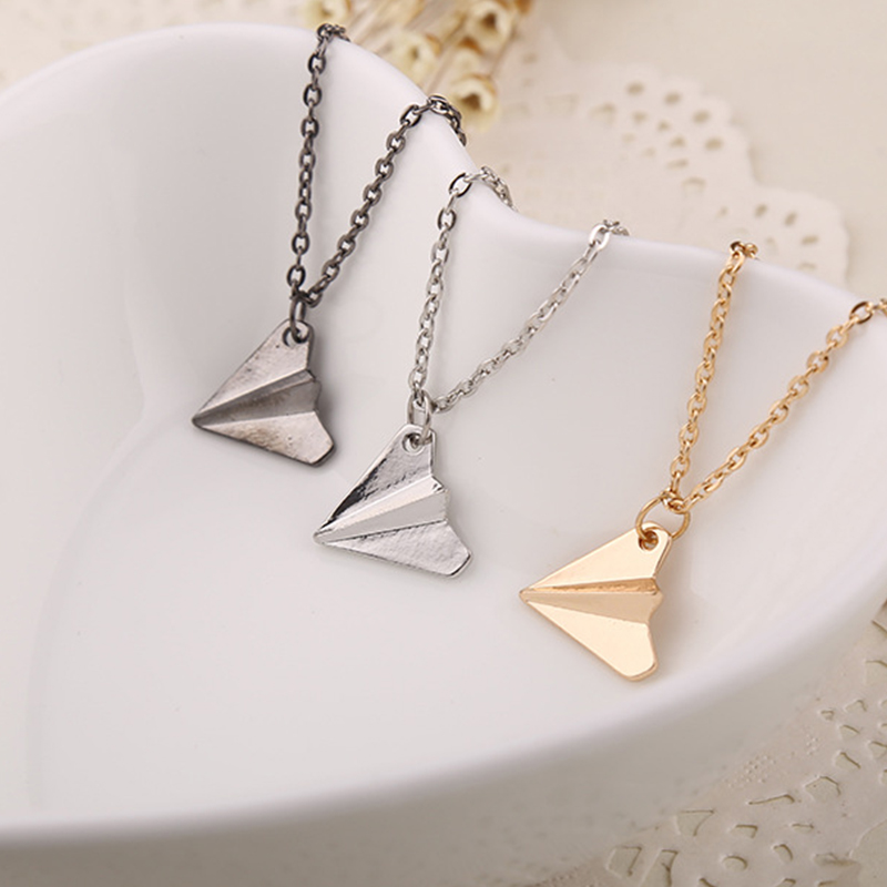 3D Origami Plane necklaces black Gold silver plated necklace Simple Paper tiny aircraft Airplane harry Styles jewelry image