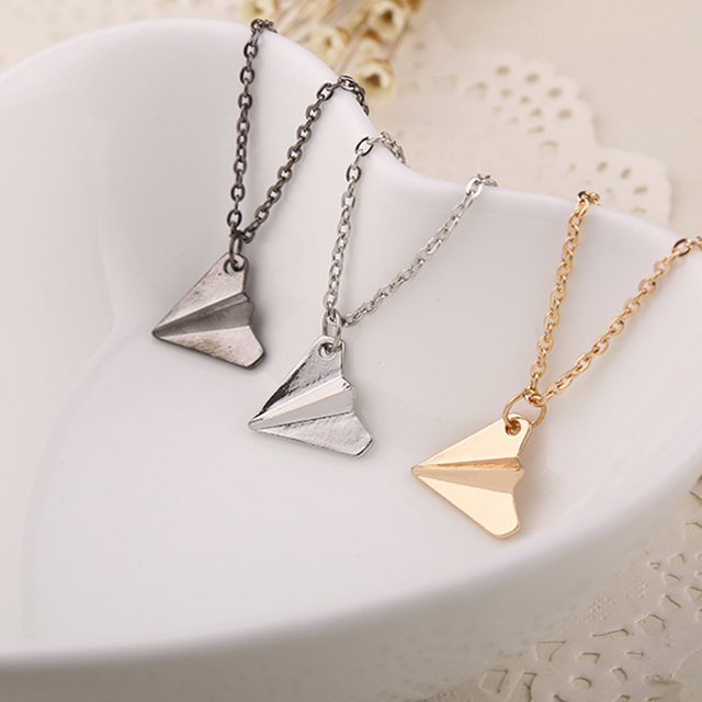 3D Origami Plane necklaces black Gold silver plated necklace Simple Paper tiny a
