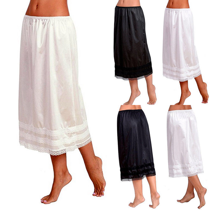 Vintage 2018 Women Long Skirt New Fashion Solid Hollow out Lace High Elasticity Pleated Skirts A-line Black White Skirt