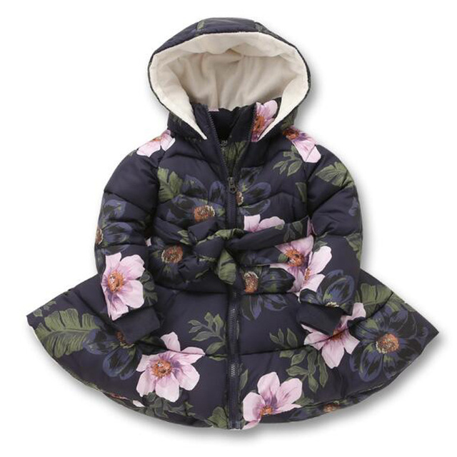 2017 New Arrival Girls Winter Jacket Floral Thick Coats Kids Princess Warm Jackets For Kids Children Clothing