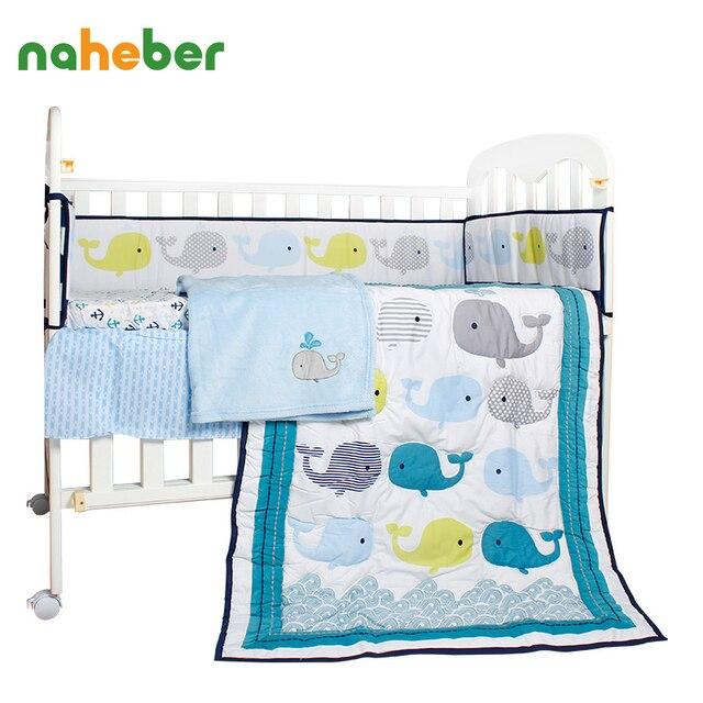 8pcs Newborn Baby Bedding Set Cotton Crib Bedding Cartoon Whale