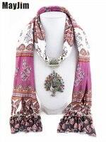 Nuevos Encantos Pendientes de la bufanda de invierno Bufanda de La impresión de cuentas borla de La Vendimia Del Pavo Real Collares Bufanda de Las Mujeres Collares Joyería